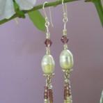 Purple Pearl Dangle Earrings with Sterling Hooks